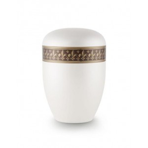 Biodegradable Urn (White with Bronze Fleur de Lys Border)