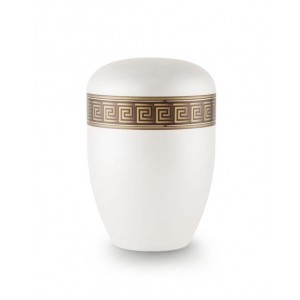 Biodegradable Urn (White with Bronze Block Spiral Border)