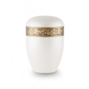 Biodegradable Urn (White with Bronze Decorative Border)