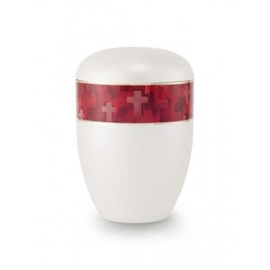 Biodegradable Urn (White wirh Red Crosses Border)