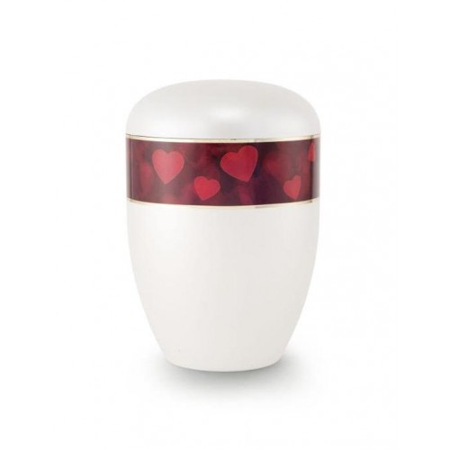 Biodegradable Urn (White with Red Hearts Border)
