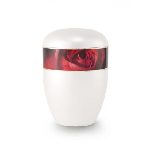 Biodegradable Urn (White with Red Rose Border)