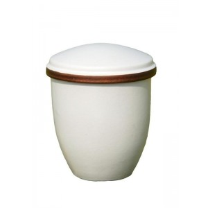 Biodegradable Urn (Creta Style - White with Walnut Rim)