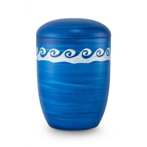 Biodegradable Urn (Blue with White Wave Border)