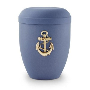 Biodegradable Urn (Dark Blue with Gold Anchor Motif)