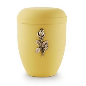 Biodegradable Urn (Yellow with Gold Rose Motif)