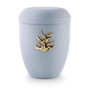 Biodegradable Urn (Pale Blue with Gold Birds Motif)