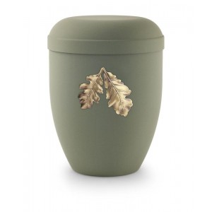Biodegradable Urn (Olive Green with Gold Leaves Motif) ***REMAINING STOCK 40% OFF***