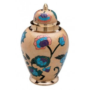 Brass Urn (Cream with Pink, Blue and Green Floral Design)