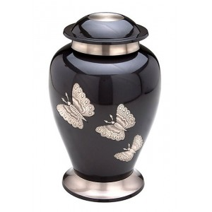 Brass Urn (Grey with Steel Butterfly Design)