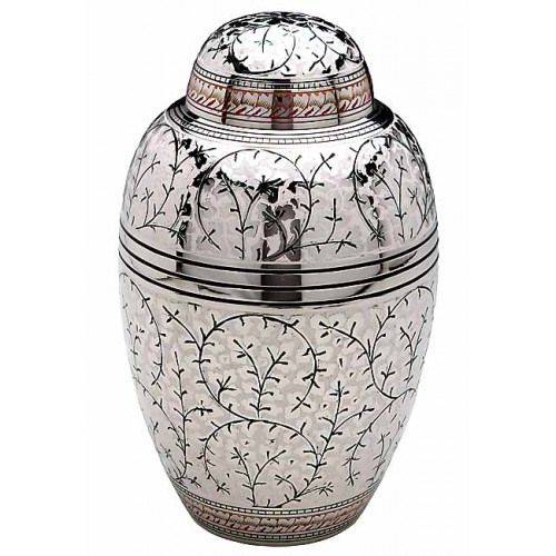 Brass Urn (White with Gold and Black Detailing)