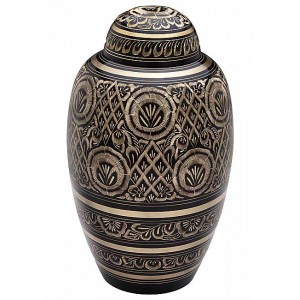 Brass Urn (Black with Gold Detailing)