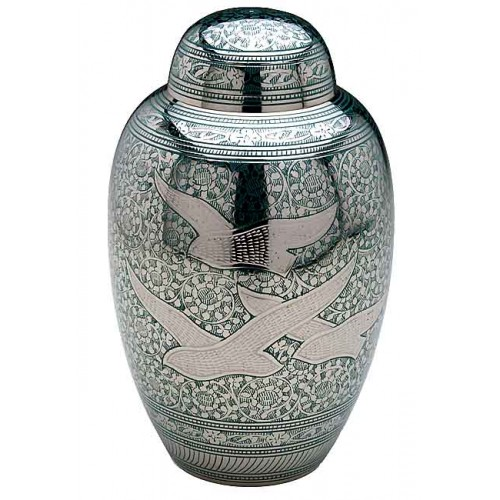 Brass Urn (Silver and Green with Flying Birds Design)