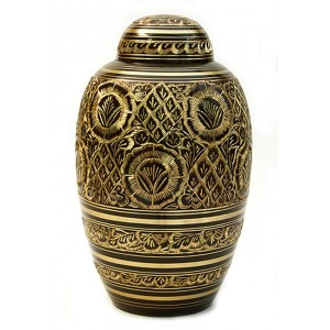 Brass Urn (Dark Brown and Gold Design)