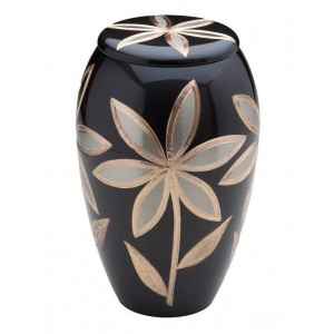 Brass Urn (Anthracite with Lilly Decoration)