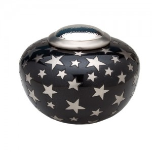 Round Simplicity Cremation Ashes Urn (Black with Silver Stars)