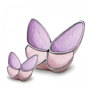 Brass Cremation Ashes Urn (Butterfly with Pink & Purple Wings)