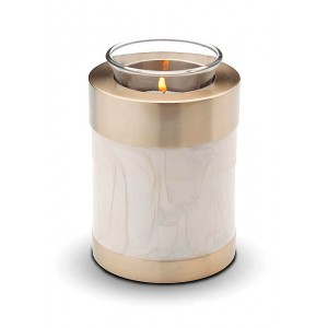 Pet Candle Holder Keepsake (Mother of Pearl & Gold)