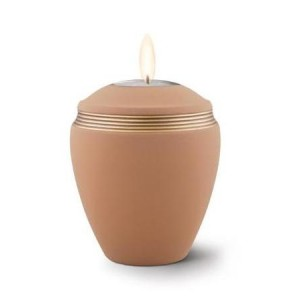 Ceramic Candle Holder Keepsake Urn (Elliptical Design) - SAND