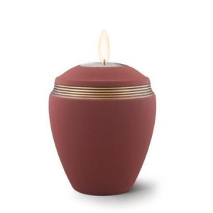 Ceramic Candle Holder Keepsake Urn (Elliptical Design) – MAROON