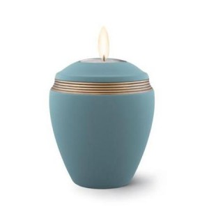 Ceramic Candle Holder Keepsake Urn (Elliptical Design) – BLUE