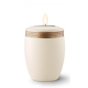 Ceramic Candle Holder Keepsake Urn (Velvet-like surface) – CREAM