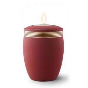 Ceramic Candle Holder Keepsake Urn (Velvet-like surface) – MAROON