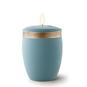 Ceramic Candle Holder Keepsake Urn (Velvet-like surface) – BLUE