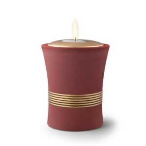Ceramic Candle Holder Keepsake Urn (Luxor Design) – MAROON