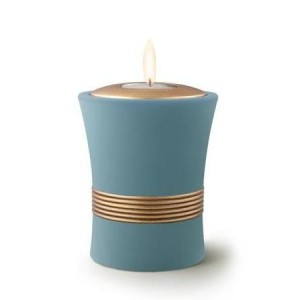 Ceramic Candle Holder Keepsake Urn (Luxor Design) – BLUE