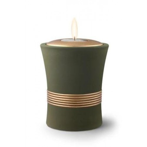 Ceramic Candle Holder Keepsake Urn (Luxor Design) – PALM GREEN