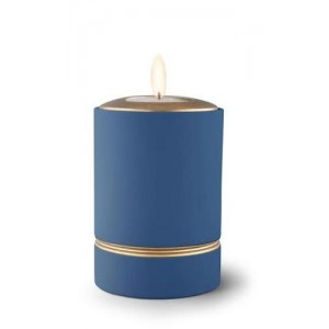 Ceramic Candle Holder Keepsake Urn (Linea Design) – DARK BLUE