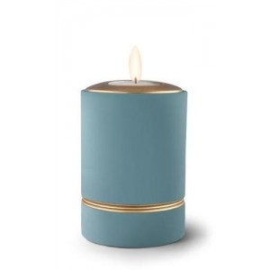 Ceramic Candle Holder Keepsake Urn (Linea Design) – BLUE