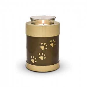 Pet Candle Holder Keepsake (Brown with Gold Pawprints)