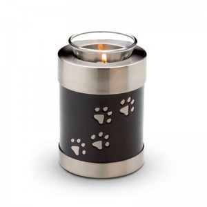 Pet Candle Holder Keepsake (Black with Silver Pawprints)