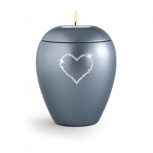 Swarovski Candle Holder Keepsake (Steel Grey)