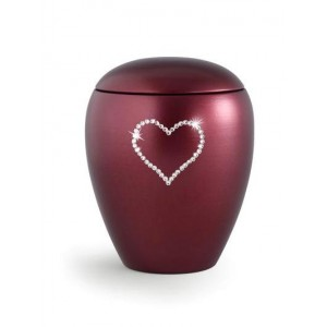 Ceramic Cremation Ashes Keepsake Urn – Swarovski Heart (Burgundy)