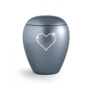 Ceramic Cremation Ashes Keepsake Urn – Swarovski Heart (Steel Grey)