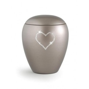 Ceramic Cremation Ashes Keepsake Urn – Swarovski Heart (Silver)