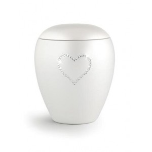 Ceramic Cremation Ashes Keepsake Urn – Swarovski Heart (White)