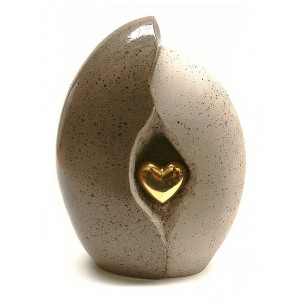 Ceramic (Medium Size) - Pet Cremation Ashes Urn - (Natural Stone with Gold Heart Motif)