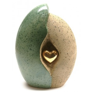 Ceramic (Medium Size) - Pet Cremation Ashes Urn - (Jade and Sandstone with Gold Heart Motif)