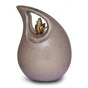 Ceramic (Small Size) – Pet Cremation Ashes Urn – Teardrop Design (Neutral with Gold Flame Motif)