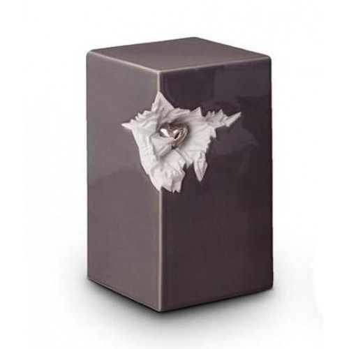 Ceramic Urn (Grey with Silver Recessed Heart Motif)