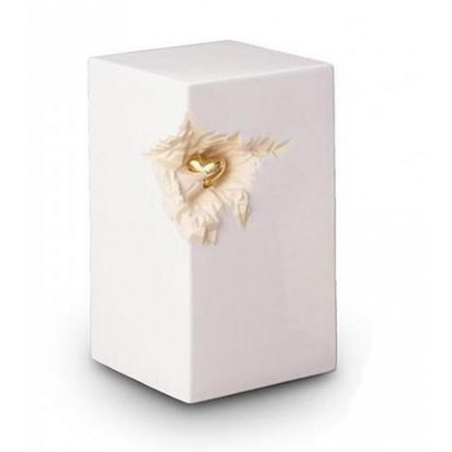 Medium Ceramic Urn (White with Gold Recessed Heart Motif)