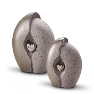 Ceramic (Small Size) - Pet Cremation Ashes Urn - (Natural Stone with Silver Heart Motif)