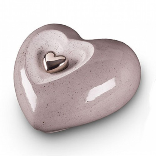 Ceramic Heart Urn (Grey)