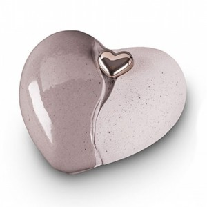 Ceramic Heart Urn (Grey with Silver Heart Motif) **LIMITED STOCK**
