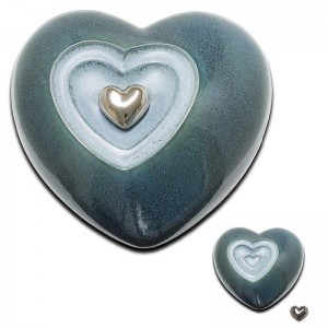 Ceramic Heart Urn (Blue)