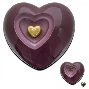 Ceramic Heart Urn (Maroon)